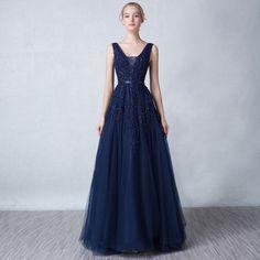 Günstig Chic A Linie Rückenfrei Lang Abendkleid in Blau aus Tüll - Online Verkauf - PERSUN