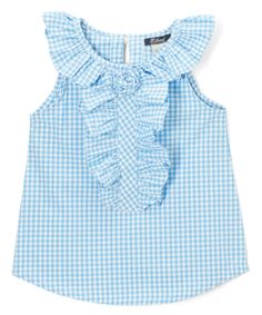 Take a look at this E-Land Kids Blue Gingham Yoke Top - Toddler today! Dresses Kids Girl, Little Girl Outfits, Kids Outfits, Kids Gown, Baby Dress Patterns, Embroidery Fashion, Blue Gingham, Girl Doll Clothes, Pretty Outfits