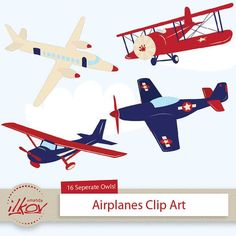 Professional Kids Airplane Clipart for Digital Scrapbooking, Crafting, Invitations, Web Design and More - Cute Red and Blue Airplane