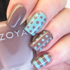 It's all about the polish: NOTD - Zoya Normani and Catrice Minter Wonderland polka dot skittle - Spring Nails Fancy Nails, Trendy Nails, Diy Nails, Manicure Ideas, New Nail Colors, Nail Color Combos, Colour Combo, Polka Dot Nails, Blue Nails