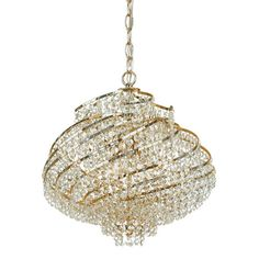 Metal and glass mini chandelier with a swirled silhouette.     Product: Mini chandelier   Construction Material: Me...