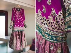 This is such a traditional wedding dress. The gota kaam on this is just elegant. The color combination is perfect. -D