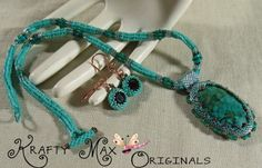 7TH BEAD SOUP BLOG PARTY BEADWOVEN TEAL BEAUTY NECKLACE SET