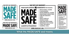 MADE SAFE (Made with Safe Ingredients) is America's first human health certification for all consumer products, from #baby and #household items to personal care and cleaners. When you see that a product is MADE SAFE, it means that it was literally made with ingredients that are not known or suspected to harm our health #madesafe