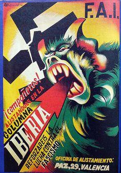 Spain - 1936. - GC - poster - Compañeros, alistaros en la columna Iberia! Anarchist poster.