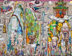 Takashi Murakami, 100 Arhats (detail). 2013, acrylic, gold and platinum leaf on canvas. Click on the image to see the astounding detail.