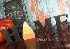 """Wooden Candy Corn With 'Home' Letters. One of 55 inserts for """"O"""" on this site! :)"""