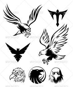 Illustration about Eagle logos and symbols for designer. Illustration of silhouette, flying, symbol - 21026849 Phoenix Tattoo Design, Skull Tattoo Design, Tribal Tattoo Designs, Phoenix Tattoos, Eagle Tattoos, Wolf Tattoos, Animal Tattoos, Elephant Tattoos, Ink Tattoos
