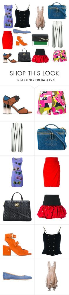 """Barbie Dolls"" by donna-wang1 ❤ liked on Polyvore featuring Marni, Trina Turk, Twin-Set, Chanel, Jeremy Scott, Versace, Gucci, Yves Saint Laurent, Laurence Dacade and Chloé"