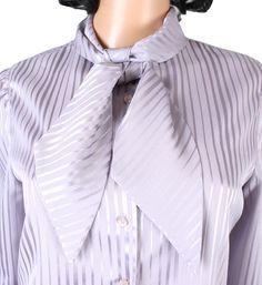Pussy Bow Blouse Sz M Vintage 80s Light Gray Shiny Striped Secretary Dress Shirt Free US Shipping by HepCatClothes on Etsy