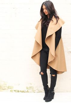 Premium Wool Waterfall Drape Sleeveless Flo Throw On Coat in Camel - One Nation Clothing - One Nation Clothing - 1