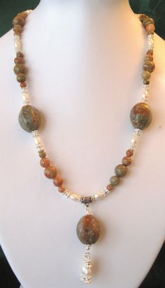 Autumn Jasper and Freshwater Pearls