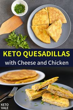 Keto Cheese and Chicken Quesadillas Low Carb Recipe via @ketovale