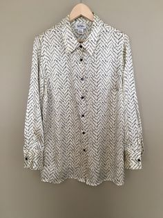 f85bd515e3141 Vintage Bob Mackie Studio Silk Cream with Navy Blue Polka Dot Patterned  Button Front Blouse