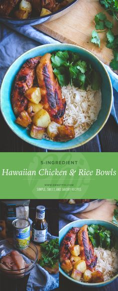 5 ingredient Hawaiian chicken and rice bowls - easy meal prep lunch idea from , healthy lunch ideas, easy 5 ingredient recipes, 5 ingredient lunch recipes, 5 ingredient chicken and rice bowls Easy Meal Prep Lunches, Prepped Lunches, Quick Healthy Meals, Meal Prep Bowls, Healthy Eating, Healthy Recipes, Easy Recipes, Clean Eating, Work Meals