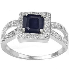 You'll fall in love with this charming sapphire diamond ring. This stunning ring is made with an emerald-cut wonderful midnight blue genuine sapphire gemstone and double round-cut white diamonds beautifully set in 0.925 sterling siver with platinum. Great as a gift for youself or someone you love, this stunning ring is an ideal choice. Our Price : $14.99
