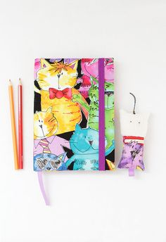2016 Weekly planner Happy cats fabric cover notebook by Spoolville