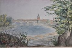 Antique French Painting, Watercolor Landscape, Vintage French Country Decor Art, Bridge River Toulouse, French Provence, Made in France by FrenchArtAntiques on Etsy