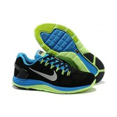 new styles 4ebfb f84aa For Wholesale Mens Nike LunarGlide 5 Suede Black Blue Fluorescence Green  Silver Shoes