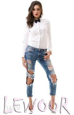 Оригинальная рубашка с бабочкой с отделкой из кожи - купить оптом и в розницу, интернет-магазин женской одежды lewoor.com