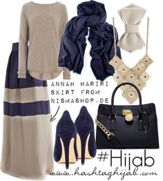 Hijab Fashion 2016/2017: Hashtag Hijab Outfit #191  Blue & Grey always look good together. We love how the bag makes the otherwise feminine outfit a little edgier.  HR
