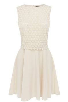 This lace top dress is a pretty skater style and is a great party piece. This little number features a lined, floral lace bodice with a contrasting full skirt that comes from underneath and a concealed zip fastening. Dress this piece up with sky scraper heels or pretty sandals and bare legs in the summer.  Read more at http://www.warehouse.co.uk/lace%20top%20dress/all/Warehouse/fcp-product/4353072601#l2Jz1AjwaJjsPq2p.99