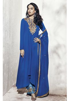 #Semi #Stitched #Blue #Georgette #Straight #Cut #Suit #nikvik  #usa #designer #australia #canada #freeshipping #cheap #cheapsalwar