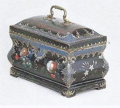 """Tea Caddie, probably Allgood and Co., Pontypool, England, 1755-1770. Sheet iron, wood, brass, and japanned decoration. H. 8 1/4"""", W. 10"""", D 5 7/8""""."""
