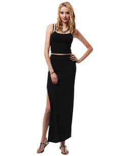 Sexy Jersey Maxi Skirt With Side Slit #11foxy
