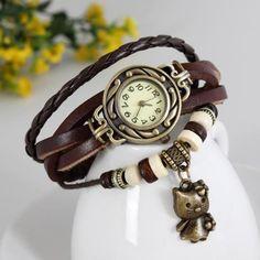 New design Hello kitty quartz watches Women dress watch leather strap casual stainless steel analog round dial wristwatch
