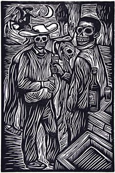 Artemio Rodriguez. Dead Friends, 2001. Linocut. Edition 40. 6 x 4 inches. $120