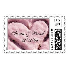 Heart In Snow Wedding Save the Date Postage