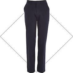 Navy smart stretch slim trousers