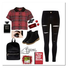 """""""red & block"""" by emilyxcourtney ❤ liked on Polyvore featuring Motel, River Island, Christian Paul, Chanel and Pier 1 Imports"""
