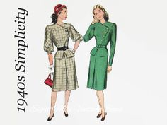 Vintage 1940s Sewing Pattern Simplicity by EightMileVintageSews