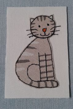 Cat free motion embroidery idea
