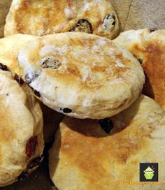 Cinnamon & Raisin English Muffins - Delicious opened and served warm with a nice spread of butter on each half! Lovefoodies