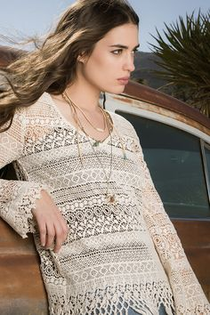 Johnny Was 4 Love and Liberty Fall 2015 Lookbook featuring the CLOUD CROCHET SWEATER TOP