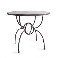 Orb Iron Base Table with Mirrored Top - FURNITURE - Tables - Side and Occasional Tables