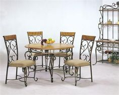 Wrought Iron Kitchen Table Sets On Round Dining Tables Metal Kitchen .