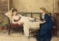 """Afternoon Tea"" (George Goodwin Kilburne, 1897)  artTea: 40 favorite tea paintings   Jama's Alphabet Soup"