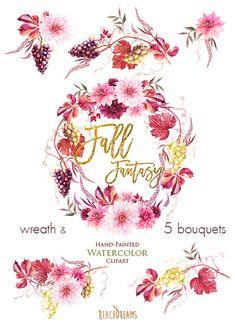 Dahlias Watercolor Fall Wreath & Bouquets clipart by ReachDreams Watercolor Drawing, Watercolor Cards, Watercolor Flowers, Fall Wedding Bouquets, Flower Bouquet Wedding, Autumn Wedding, Flower Bouquets, Bridal Bouquets, Wedding Centerpieces