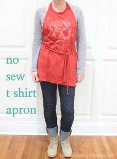 Try this clever DIY idea—a No Sew T-Shirt Apron. Read how to transform a custom tee into a cute apron: http://sawdustgirl.com/2013/01/16/no-sew-t-shirt-apron/