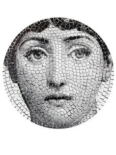Shop Fornasetti Plate In White from stores. Printed black and white porcelain wall plate from Fornasetti featuring a woman's face in a mosaic. Piero Fornasetti, Fornasetti Wallpaper, Italian Painters, Foto Pose, Everyday Objects, Illustrations, Plates On Wall, Woman Face, White Porcelain