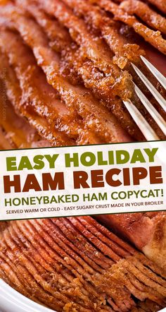 This copycat Honey Baked Ham is juicy and tender with the most amazing crispy sweet glaze! Made with honey sugar and mouthwatering spices you'll be amazed at how easy it is to make this ham at home and save a TON of money! Easter Recipes, Baby Food Recipes, Holiday Recipes, Sweet Recipes, Slow Cooker Recipes, Crockpot Recipes, Cooking Recipes, Pork Recipes, Baked Ham Recipes