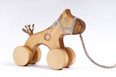 Kids Baby True Handmade Wood Toy Art Craft Blue Horse Pull Toy ** You can get more details by clicking on the image.