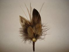 Duck and Pheasant Feathers Boutonniere