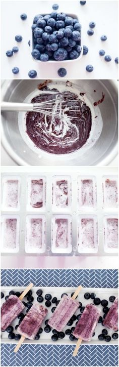 Low Carb Recipes To The Prism Weight Reduction Program 3 Ingredient Blueberry Coconut Protein Popsicles Such A Refreshing Recipe Yummy Treats, Sweet Treats, Yummy Food, Frozen Desserts, Frozen Treats, Healthy Desserts, Dessert Recipes, Vegan Sweets, Easy Desserts