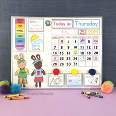 Free DIY Children's Calendar printables available in English, Spanish and French! This calendar is a great learning tool to use with children daily and a fun way to learn about the weather, days of the week and plan out your day! Kindergarten Calendar, Preschool Calendar, Classroom Calendar, Kindergarten Learning, Classroom Ideas, Toddler Learning, Disney Classroom, Toddler Fun, Weather Calendar