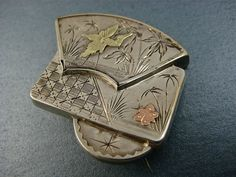 Rare Aesthetic Movement Hand Etched Silver and Gold Brooch c1890s